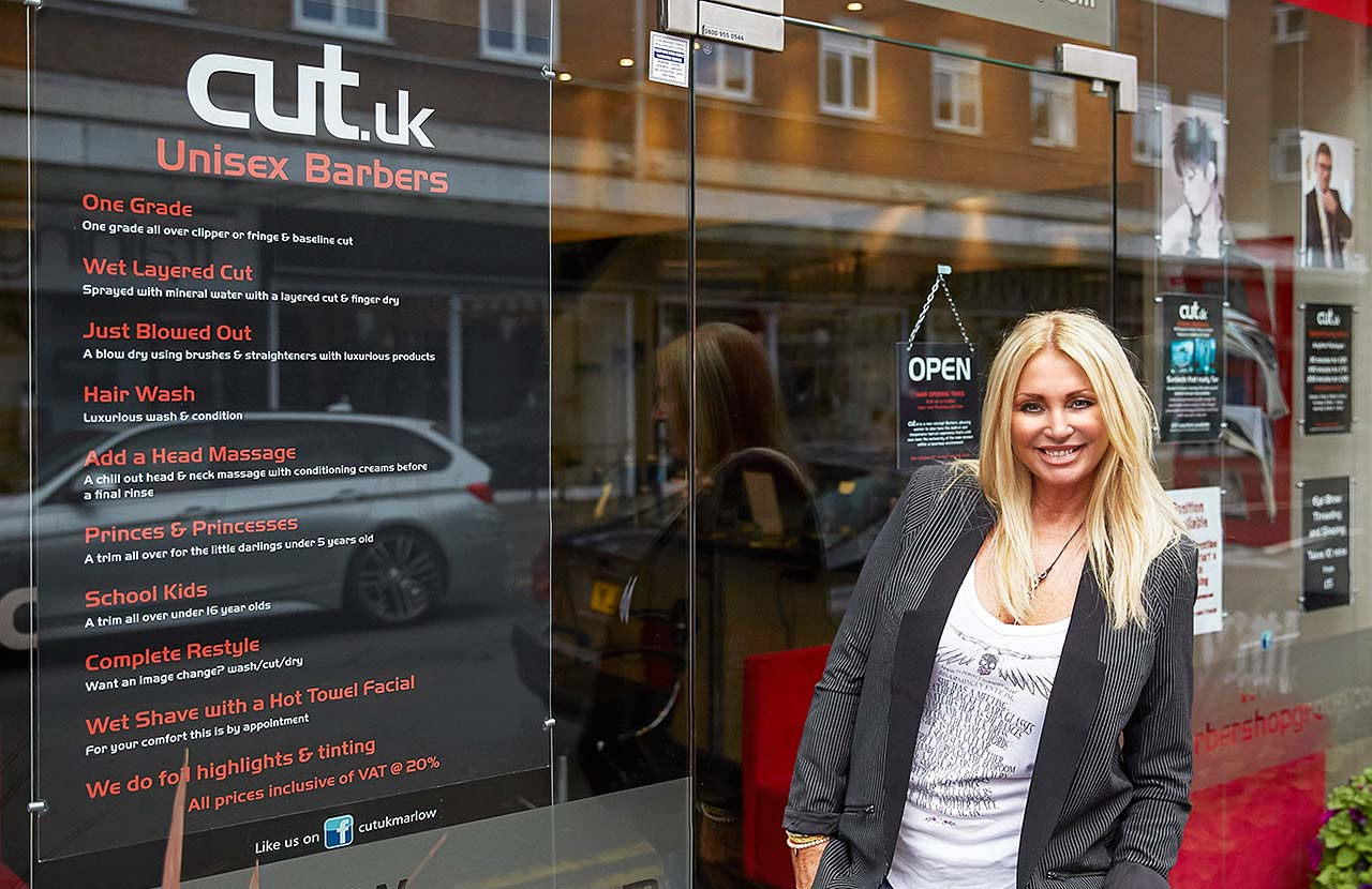 Karen Waldron outside Cut UK in Beaconsfield