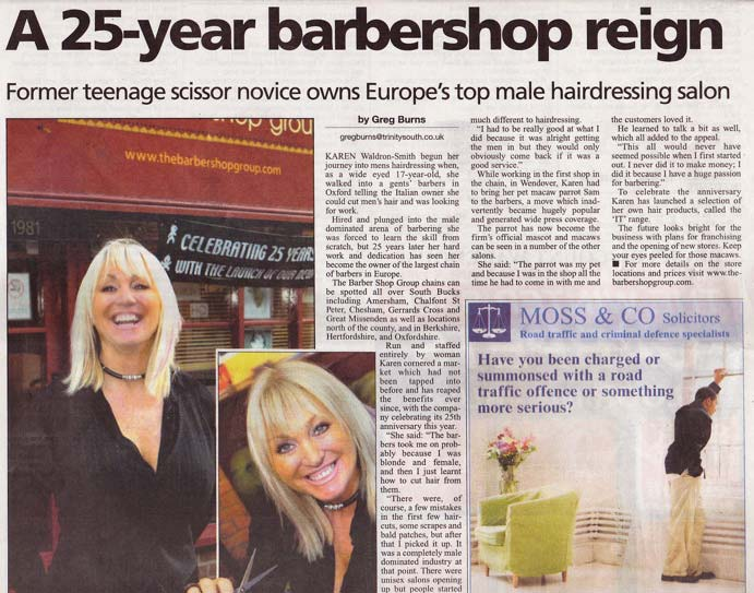 25 Year Barber Shop Reign Article