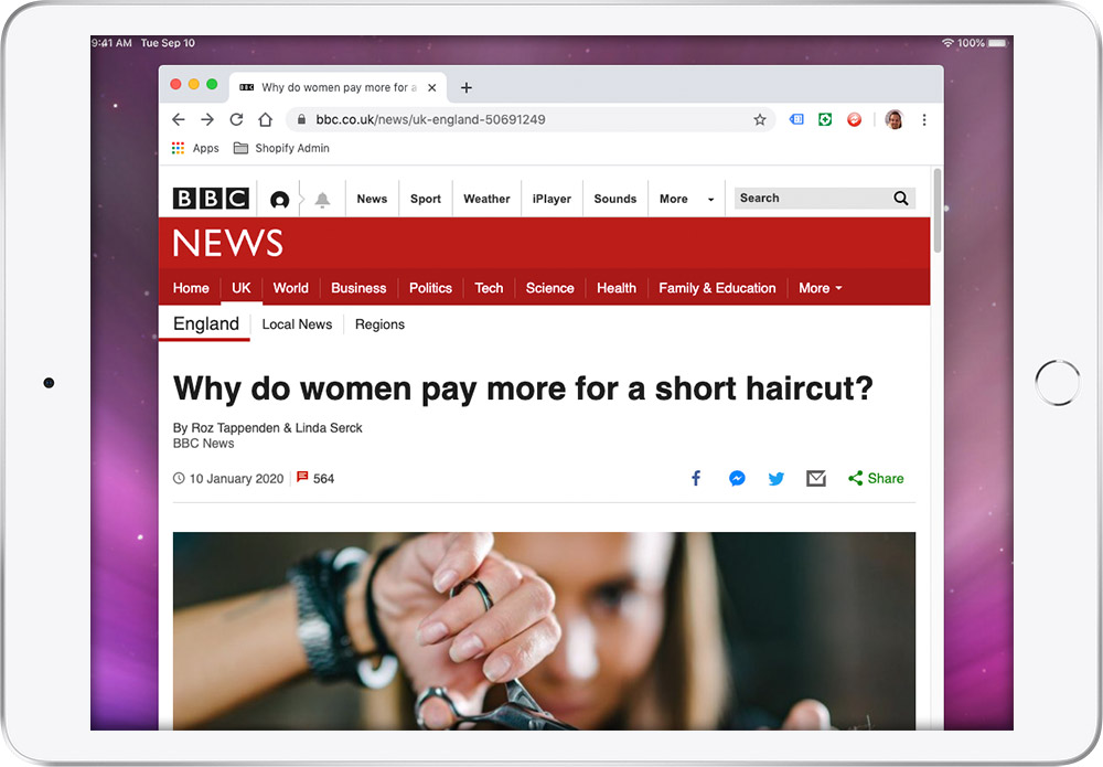 BBC article on women's haircut pricing