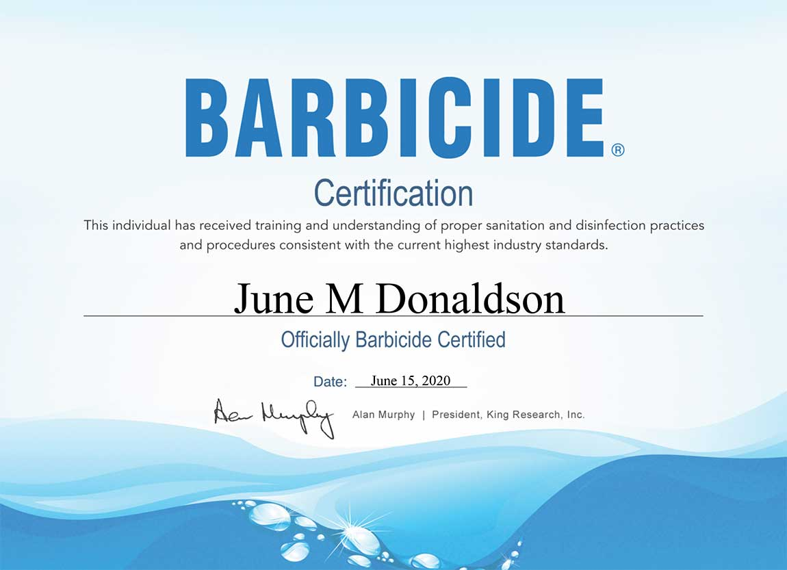 Barbicide Certification